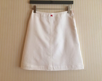 Courreges white trapeze / A line skirt / S/ space age
