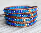 Beaded Leather Wrap Bracelet 4 or 5 Wrap with Turquoise Toned Czech Glass Beads on Saddle Brown Leather Ocean Beach Bracelet