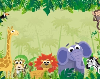 Jungle Safari Themed Party Backdrop - 3ft x 5ft - Instant Download - YOU PRINT