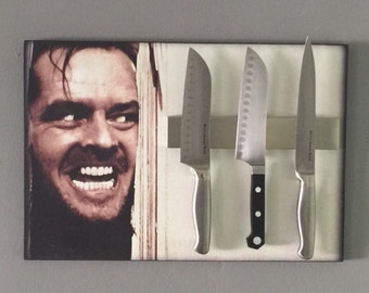 "Knife Holder THE SHINiNG Magnetic Strip Knife Rack & Wood Mounted Wall Art. 18"" x 12"". Novelty Knife Holder. Lightweight,"