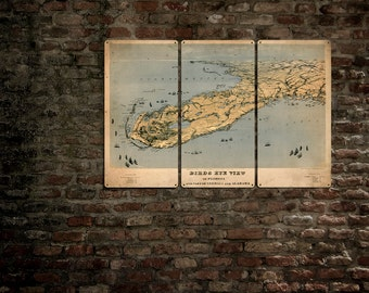 "Vintage Florida METAL Map Triptych 36x24"" FREE SHIPPING"