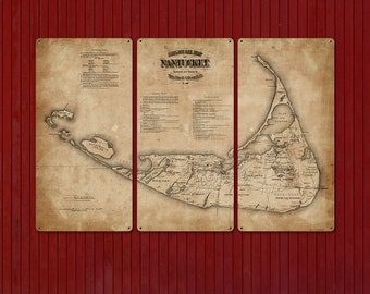 "Vintage Nantucket Island METAL Map Triptych 36x24"" FREE SHIPPING"