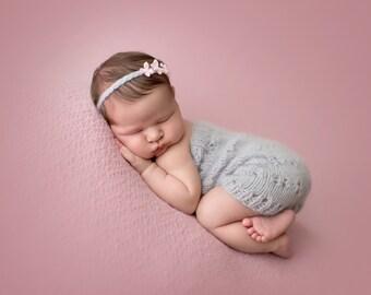 Newborn baby girl hand knitted Romper Overall and braided flower tieback/ Luxury yarn Photography Prop/Merino wool prop