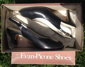 "Vintage shoes | 1980s black leather Evan-Picone ""Grazie"" peep toe slingback pumps, US 8.5"
