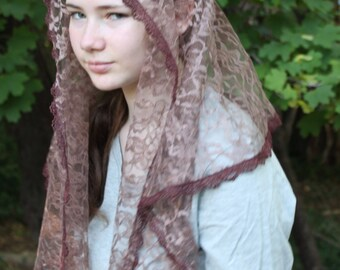 Chapel Veil/ Catholic Mantilla/ Lace Headcovering/ Chantilly Lace Veil. The Katharine Drexel Veil.