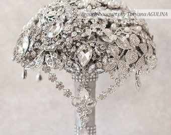 Wedding Bouquet, Brooch Bouquet, Bridal Bouquet, Bridesmaids Bouquets, Crystal Bouquet, Jewelry Bouquet, Silver Bouquet, Custom Bouquet