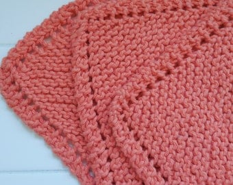 Pumpkin Dish Cloths, Set of three handknit cotton dishcloths, dish cloth, kitchen, gift idea, summer, orange, autumn, pumpkin, peach, cloths