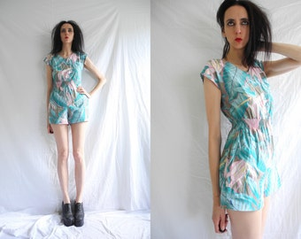 80's multicolour abstract blue and pink floral print sleeveless playsuit.