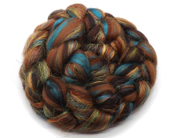 Sparkling tops - blended roving - Merino wool - Silk - Firestar - 100g - 3.5oz - ANTIQUITY