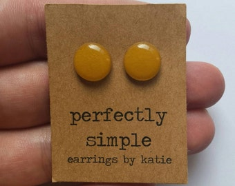 Yellow ochre (hand drawn) stud earrings