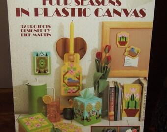 Vintage 1986 Leisure Arts Plastic Canvas Pattern Book Leaflet 1064 Four Seasons in Plastic Canvas
