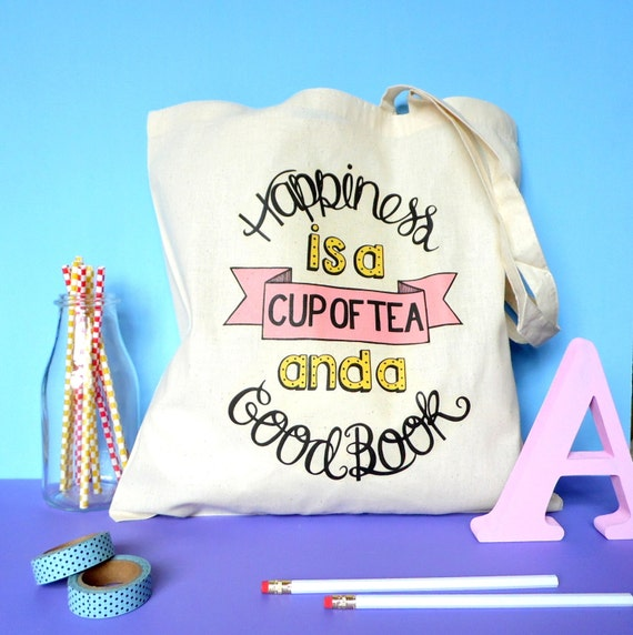 Tea and Books Tote Bag. Book Bag. Literary Gifts. Inspirational Quote. Book Art. Book Gifts. Reading. Book Worm. Book Lover. Book Quote.
