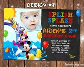 Mickey Mouse Clubhouse Swim Beach Slide Birthday Party Photo Invitations Pool Splash - Printable