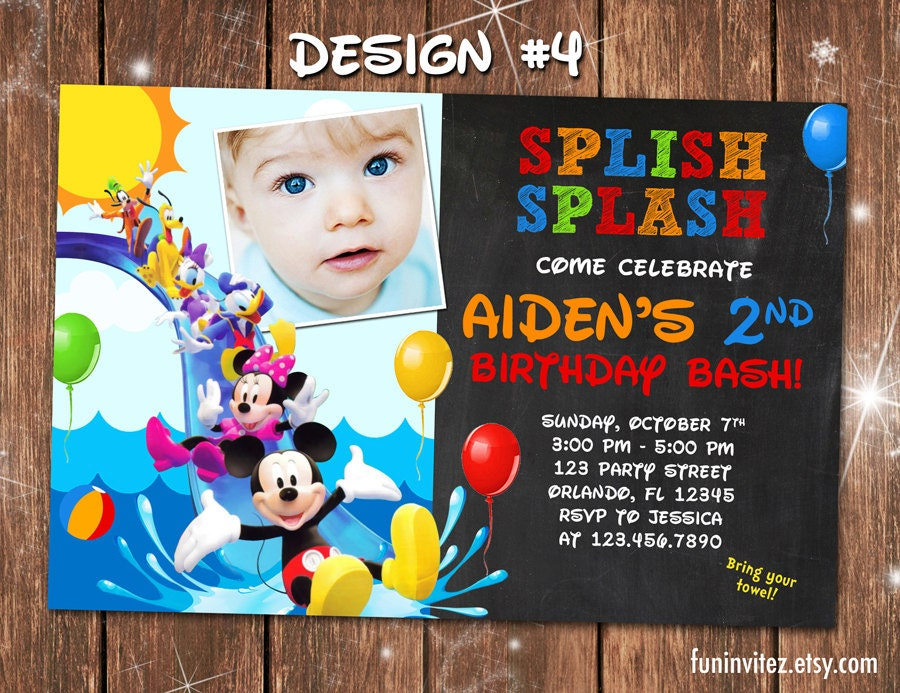 Mickey Mouse Clubhouse Swim Beach Slide Birthday Party Photo