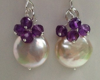 February birthstone amethyst and natural coin pearl earrings