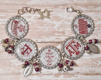 Keep Calm Gig Em Inspired Glitter Bottlecap Bracelet with Beads and Bling