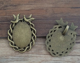 6pieces18x25mm Bronze Oval Cameo Setting