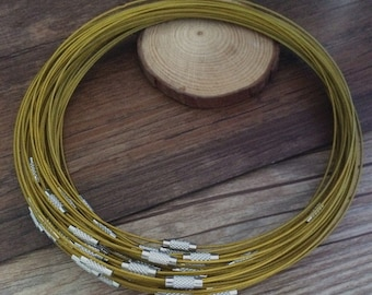 20pcs yellow  color 1.0mm  18inch stainless steel wire stainless steel wire necklaces choker with smooth screw clasps