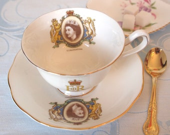 Antique Teacup Set Royal Albert English Bone China Tea Cup to Commemorate the Coronation Queen Elizabeth 1953  England | Royals Memorabilia