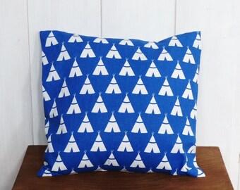 Cushion cover 40 x 40 cm cobalt blue geometric motifs Indian tipis