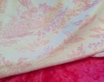 Toile Blanket Minky Baby Blanket. Pink Baby Bedding,Toile Baby Blanket. Car Seat Blanket. Stroller Blanket  Infant Bedding Size 29 X 36 in