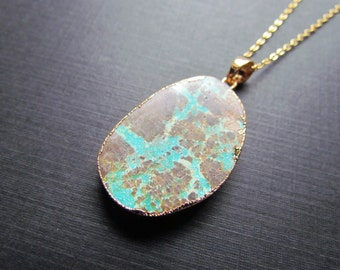 Turquoise Necklace - Blue and Brown Turquoise Pendant - Gold Filled Chain