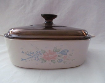 "Corning Ware ""Symphony"" Casserole Dish with Amber Lid ~ 2 Liter"