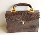Vintage Brown Faux Alligator Embossed Handbag, Designer Signed Meyers, Circa 1950's