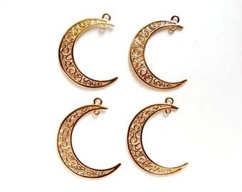 4 KC Gold Plated Crescent Moon Filigree Charm/Connectors - 4-CMC-6