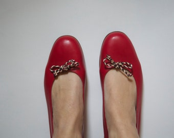 Red leather BURBERRY ballet flats