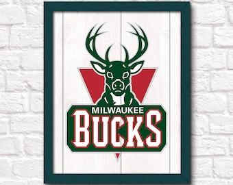 MILWAUKEE BUCKS - rustic handmade sign - Milwaukee Bucks basketball fan gift - Fathers Day gift for Dad