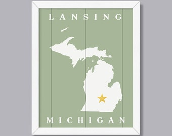 MICHIGAN - Your Town Custom Sign - Early American Series - Rustic Home Decor  Handmade sign for state of Michigan - Housewarming Family gift