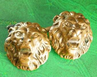 Antique fierce Lion Cufflinks Fine Jewelry mens estate jewelry victorian wedding groom jewelry cuff links vintage brass
