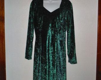 Vintage 90's green crushed velvet mini dress