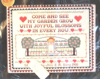 Vintage Sunset Counted Cross Stitch My Garden Sampler Kit 3014 NIP 1987
