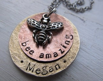 Personalized Mixed Metal necklace Hand Stamped Necklace Name Necklace Bee Necklace Hammered Metal Necklace