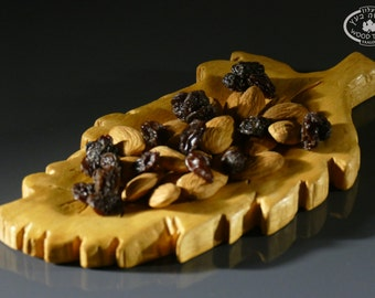 Handcarved Wooden serving leaf