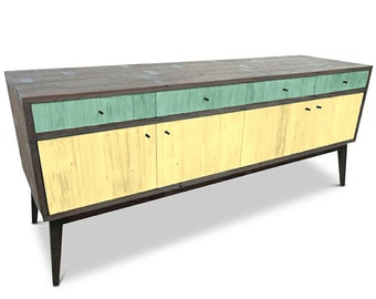 Modern Mid Century Retro Scandinavian Teal Jade Mint Green & Yellow Sideboard / Buffet / Entertainment Unit - Solid Timber, Recycled Wood