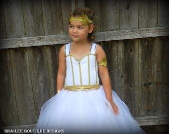 Halloween costume kid,Greece goddess costume Girl's tutu dress 3pc set, halloween dress up costume made to order