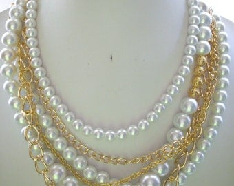 Multi Strand White Pearl and Gold Chain Necklace with Filigree Gold Beads