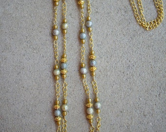 Blue Green Yellow Lustre Irridescent Beads Gold Pearls and Gold Spacer Bead Double Strand Necklace