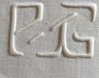 13 French Damask Linen Large napkins initials PG