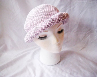 Lavender white woven hat, cloche hat, lilac rolled rim hat, Church Sunday formal hat