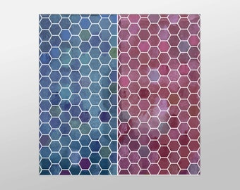 Red and Blue Honeycomb Canvas Art Print, Honeycomb Wall Art, Artistic Wall Art, Canvas Art, Canvas Print, Home Art, Wall Art