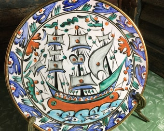 Ikaros Pottery Sailing Ship Plate