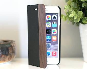 Wood iPhone 6 Plus Wallet Case, iPhone 6s Plus Wallet Case, Walnut Folio Case - FOL-WB-6PLUS