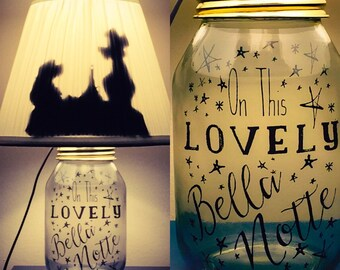 Lady and the Tramp Inspired Mason Jar Character Lamp