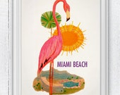 Pink flamingo poster- Miami beach vintage style add -  Pop Art Beach A4 Print Poster Art SPN039