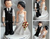 Bride handcuffed with police groom wedding cake topper- Custom made bride and groom UK British policeman wedding cake topper
