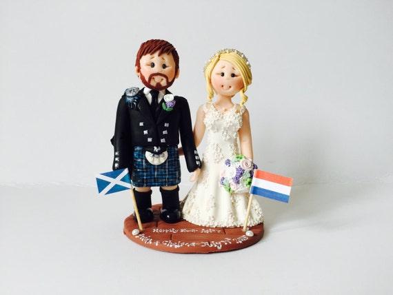 Items Similar To Scottish Groom In Tartan Kilt Wedding Cake Topper